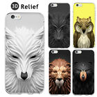 Coque Wolf Lion Bears Animals Silicon Case 3D Effect relief Iphone 5 6 6s 4.7 +