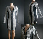 SEXY BLACK WHITE LINING BUTTON  HOUNDS TOOTH CHECK COCKTAIL DRESS XL 2XL 3XL