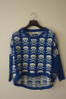 BODYLINE SKULL BLUE AND WHITE COTTON BLEND SWEATER SIZE S, M REG $89 NWT