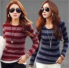 New Fashion Women Striped Silm Long Sleeve Casual T-Shirt Tops Blouse Knit Shirt