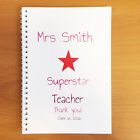 PERSONALISED NOTEBOOK TEACHER GIFT ADD ANY TEXT, COLOUR, IMAGE, OR SLOGAN. A4 A5