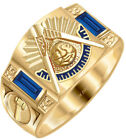 10k or 14k White or Yellow Gold Customizable Masonic Past Master Solid Back Ring
