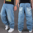 New Mens Unltd Loose Denim Stonewashed Jeans Hip-Hop Streetwear Pants Jeans