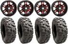 "STI HD7 14"" Wheels Red/Black 32"" Roctane Tires Yamaha Grizzly Rhino"