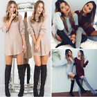 Womens Ladies Long Sleeve Sexy Casual Loose T Shirt Tee Long Dress Top Size 6-16