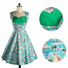 Women Vintage Style 50'S 60'S Floral Printed Sleeveless Cocktail Party Dress