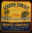 GOLDEN SUNSET Old Florida CITRUS Label 30's