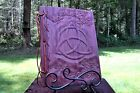 Lg Custom Wood & Leather Blank Journal, Diary, Book of Shadows - Triquetra & Ivy