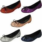 Anne Michelle Ladies Glittery Ballerina Shoes - Style 184