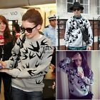 Fashion Women Swallow Print Long Sleeve Sweater Hoodie Pullover jumper Tops TXSU