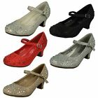 Girls Junior Spot On Sparkly Kitten Heel Party Shoes H3046