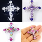 #P628B Gorgeous Big 4.9cm Cross Faith Gift Pin Brooch Crucifix Crystal NEW