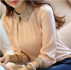 Korean Autumn Doll Collar Tops Long Sleeve Shirt OL Slim Chiffon Casual Blouse