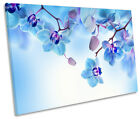 Blue Floral Flowers CANVAS WALL ART SINGLE Picture Print
