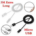 Universal 3M Long Over 2A Quick Spring Spiral Micro USB Sync Date Charger Cable