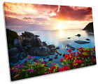 Sunset Beach Floral CANVAS WALL ART SINGLE Picture Print