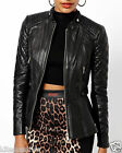 New Wash And Wax Soft Lambskin Biker Quilted Leather Jacket For Women W- 07