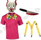 MENS EVIL KILLER SCARY CLOWN CIRCUS HALLOWEEN JESTER FANCY DRESS COSTUME S-XL