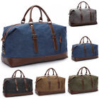 Fashion Retro Men's Large Leather Canvas Travel Lightweight Luggage Bag Weekend