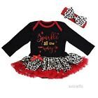 Baby Xmas Sparkle All The Way White Red Leopard Bodysuit Tutu Romper Dress