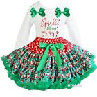 Xmas Red Green Santa Pettiskirt & Sparkle All The Way White Outfit