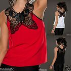 069 GORGEOUS ELEGANT SLEEVELESS LINING LACE BLACK RED WHITE TOP ONE SIZE M/L