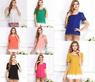 New Fashion Womens Ladies Chiffon Short Sleeve T Shirt Casual Solid Tops Blouse