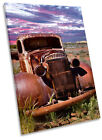Vintage Rusty Old Truck Framed CANVAS WALL ART Print Picture