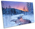 Winter River Sunset Snow CANVAS WALL ART SINGLE Picture Print