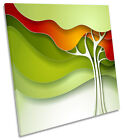 Funky Abstract Green Tree CANVAS WALL ART SQUARE Picture Print
