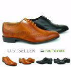 Mens Dress Shoes Full Brogue Wingtip Formal Oxford Perforation Lace up Closure