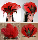 Indian Ostrich Red Feather Headband Headdress Headpieces Fancy Dress Semba Party
