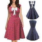 Fashion Women Bowknot Polka Dot Swing Dress Summer Beach Evening Party