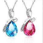 Women Crystal Rhinestone Waterdrop Necklace Chain Gift  Jewelry 9 Colours New