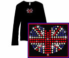 Union Jack  Great Britain  London Rhinestone Long Sleeve T Shirt S, M, L, XL, 2X