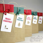 Brown Kraft Christmas Gift Bags | Tissue Paper | 5 Label Designs | Red or Green