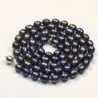 s058 long AA 8-9mm oval black white natural freshwater pearl necklace best gift