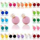1 Pair Fashion Double Sided Crystal Pearl Beads Earrings Ear Studs 14 Color