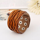 21 Designs Mens Womens Brown, Black Faux Leather Surfer Bracelet Wristband Cuff