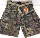Mossy Oak men's Cargo shorts camo camoflauge w belt 30 32 36 34