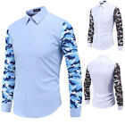 New Mens Shirt Long Sleeve Casual Button Luxury Designer Fashion Dress Shirt Top