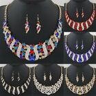 Fashion Beauty Women's Crystal Bib Pendant Necklace Hook Earrings Jewelry Set