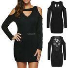 Fashion Women's Sexy Lace Hollow Backless Long Sleeve Cold Shoulder Mini Dress