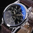 Luxury Men's Black Leather Stainless Steel Military Round Dial Wrist Watch