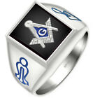 Customizable Solid Back Men's 0.925 Sterling Silver Gold Masonic Blue Lodge Ring