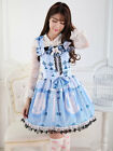 Sweet Blue Butterfly cute Lace Polyester jumper Lolita fashion Dress with bows