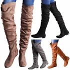 Women Over The Knee Flat Long Boots Suede Rushed Detail