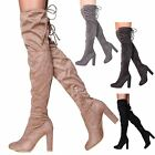 Womens Over the Knee Tie Back Thigh High Boots Long Boots Suede Heeled Boots
