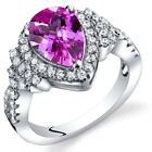 Created Pink Sapphire Tear Drop Ring Steriling Silver 2.50 Carats Size 5 to 9