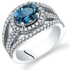 London Blue Topaz Lateral Halo Ring Sterling Silver 1.50 Carats Sizes 5 to 9